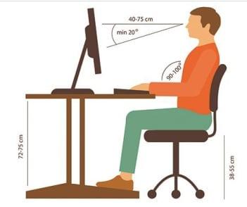Position assise au bureau